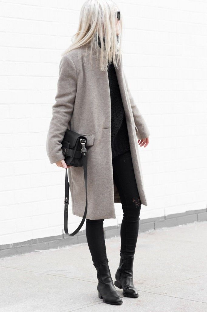 Winter Outfit: Figtny is wearing a grey coat from Oak + Fort, distressed jeans…