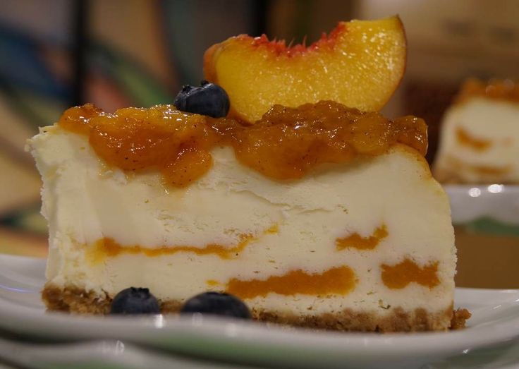 Bourbon-Roasted Peach Cheesecake Recipe — Dishmaps