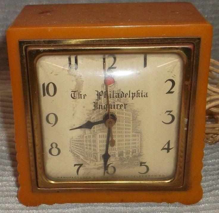 Vintage Art Deco  TELECHRON BAKELITE Philadelphia Inquirer ADVERTISING  CLOCK