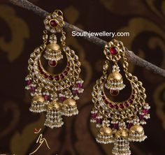Beautiful Polki Chandbalis - Jewellery Designs