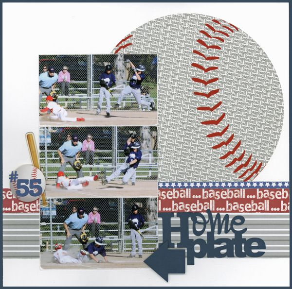 @Carrie Hatfield (thought of you & R's last bday party) Baseball layout by Carolyn Lontin