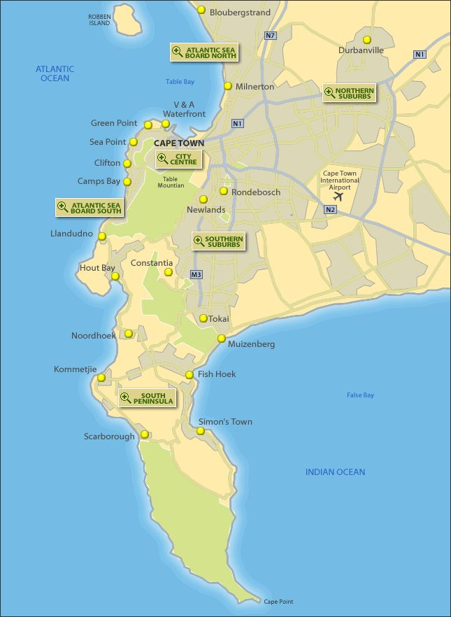 Tourist Map of Cape Town, South Africa