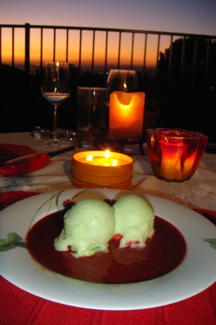Black cherry and port soup with lime sorbet