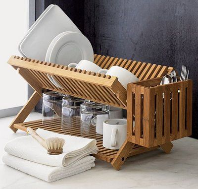 This one has been re-pinned a couple times. Validation...? Dish drying ideas: wooden dish drying rack