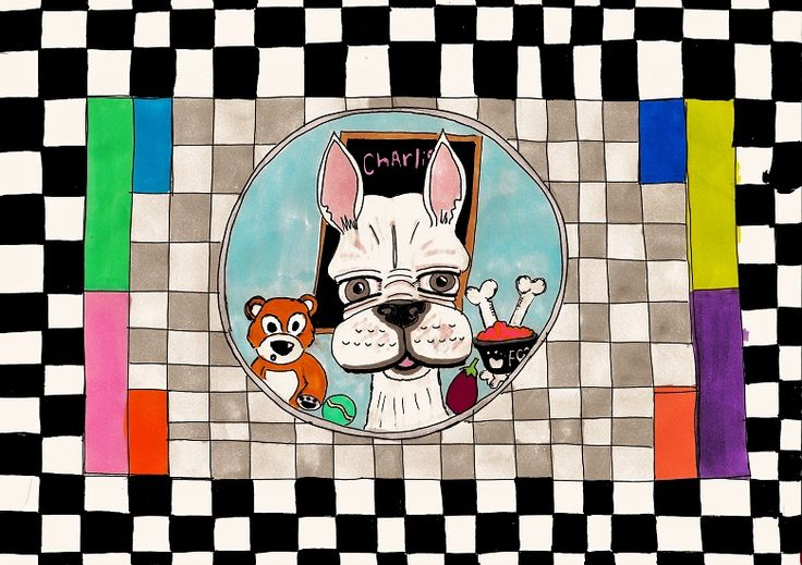 """Illustration of a French bulldog titled """"Test Card Charlie"""".  This A4 illustration was drawn with fine liner pen with colour added using promarkers. #illustration #drawing #frenchbulldog #frenchie"""