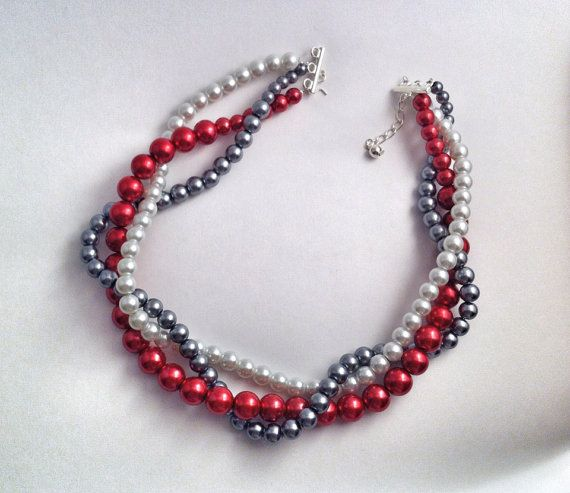 Chunky twisted three strand statement necklace, white, dark red, grey, gift, bridesmaids, birthday, wedding, mix colors on Etsy, (Mix Colors Wedding)