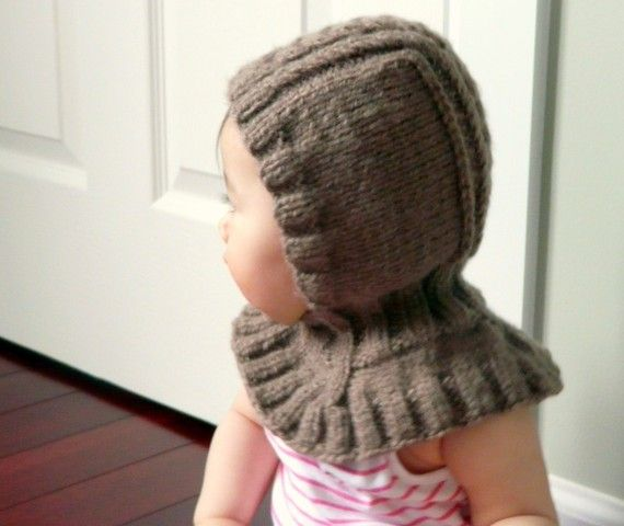 Cute #knit baby hood and cowl.