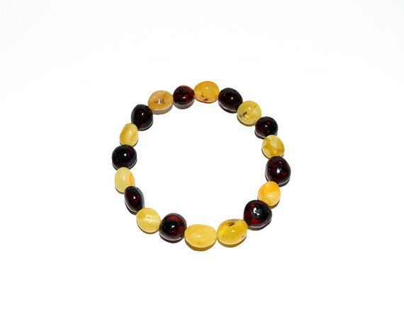 Exclusive Natural Baltic Amber Bracelet, yellow & dark cherry amber round beads