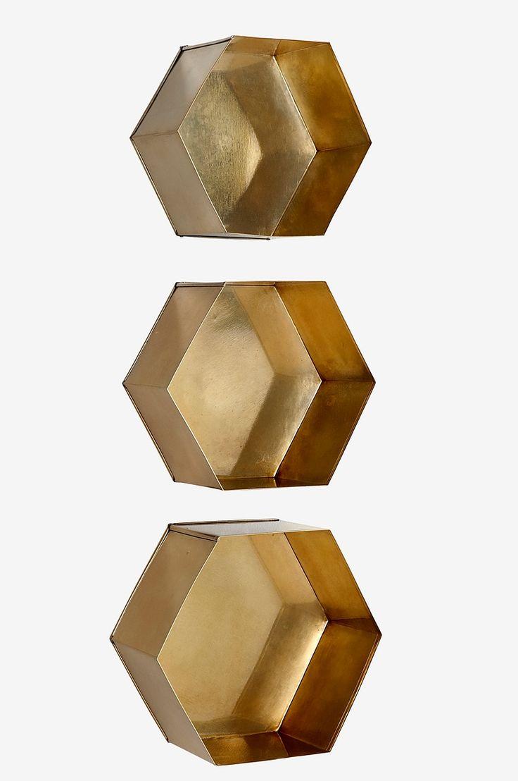 Ellos Home Vägghylla Hexagon, 3-pack - Mässing - Hem & inredning - Ellos.se