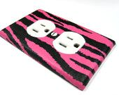 Hot Pink and Black Zebra Stripes Bedroom Decor Light Switch Cover Teen Girls Home Decoration Neon Pink 562. $6.00, via Etsy.