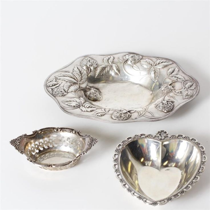 """Three sterling silver holloware dishes; one Gorham, one repousse strawberry bowl. H 3/4"""" x W 7 1/2"""""""