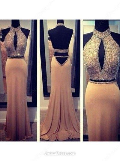 champagne prom dress,long prom dress,charming prom dress, two pieces prom dress,sexy Prom Dresses,evening Dresses,150874