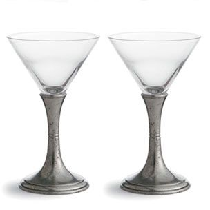 arte italica verona martini glasses pewter and mouthblown glass - Arte Italica