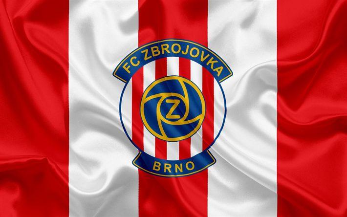 Descargar fondos de pantalla Zbrojovka Club de Fútbol, Brno, República checa, emblema de la Nra, el logotipo de seda roja bandera de la República checa de Fútbol del Campeonato