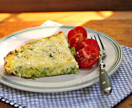 Zucchini, goat cheese and basil frittata, from The Perfect Pantry. (Yum!!)
