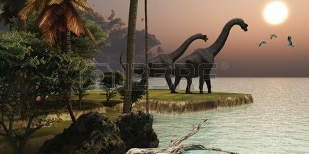 Brachiosaurus Sunset - Two Brachiosaurus dinosaurs enjoy a beautiful sunset.