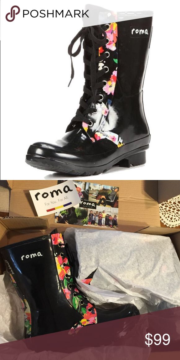 NIB Roma Sadie Robertson rain boots☔️ Adorable pair of short lace up Sadie Robertson design rain boots. Shiny black with bright floral accents on the front and back. Approximately 10 inches in height. Not so sure I want to sell! Very comfortable! Price is very firm!NO TRADES NO OFFLINE TRANSACTIONS✅ PRICE IS FIRM UNLESS BUNDLED Roma Shoes Winter & Rain Boots