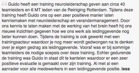 Een prachtige recommendation over Guido de Valk naar aanleiding van zijn training over Neuroleiderschap. #neuroleiderschap #guidodevalk #futurouitgevers