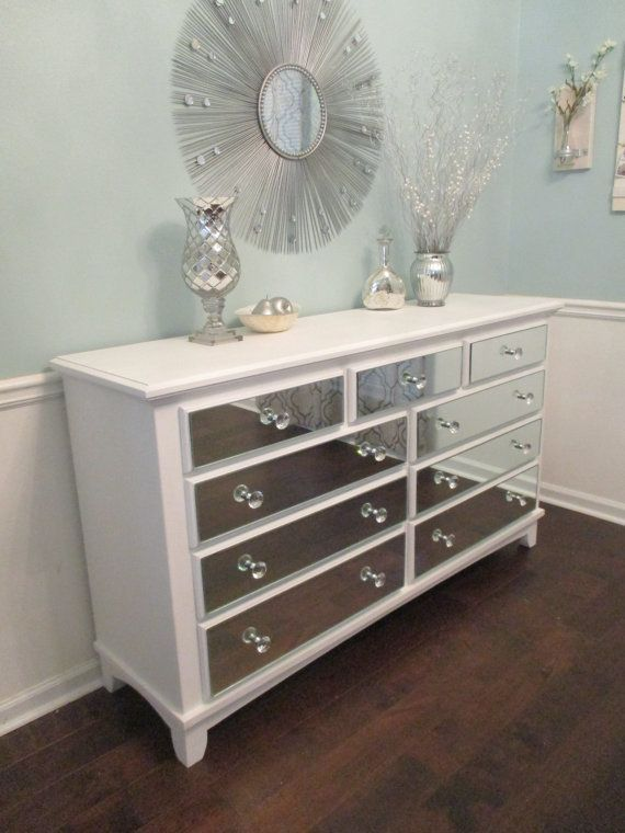 Mirrored Dresser Pure White With Mirrored Drawer Fronts And