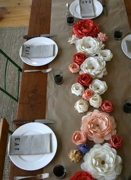 Paper flower table runners...in case the wall doesn't look as fabulous as it does in my mind.
