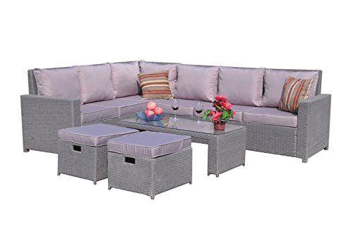 Yakoe New Conservatory Modular 8 Seater Rattan Corner Sofa