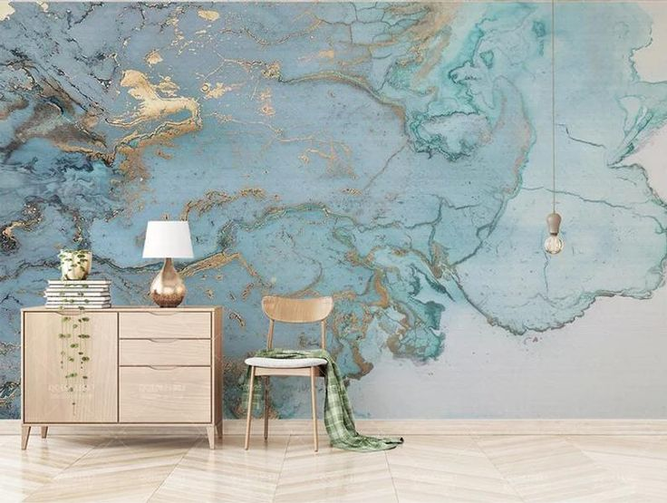 3D Marble-Looking Wallpaper Blue Marble Poster Design Fashion Retro Luxury Blue Gilding Texture TV Background Wall Bedroom
