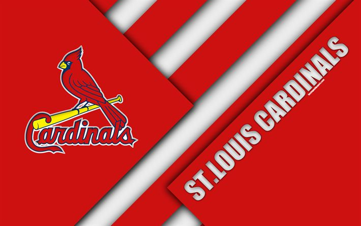 Download wallpapers St Louis Cardinals, MLB, 4K, red abstraction, logo, material design, baseball, St Louis, Missouri, USA, Major League Baseball, Central division