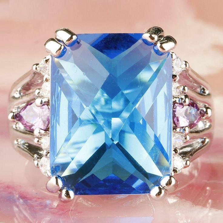 Lingmei splendidi gioielli all'ingrosso di modo blu bianco cz amethyst silver ring donne nobili taglia 7 8 9 10 spedizione gratuita