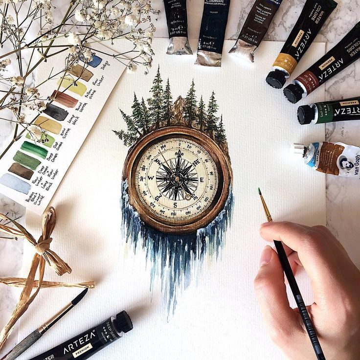 This piece is done and while I was painting this I even got a few more ideas incorporating compasses that I would eventually like to paint…