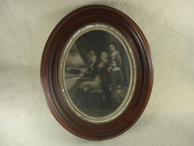Pair of Antique Framed Oval Prints of George Washington Family and Abraham Lincoln Family. $125.00, via Etsy.