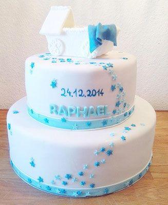 Tauftorte Junge blau @ Renates Torten Design