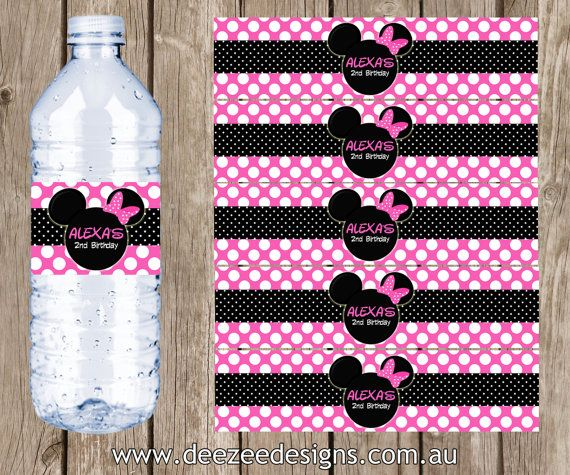 Minnie Mouse Themed Personalised Water Bottle Labels  YOU