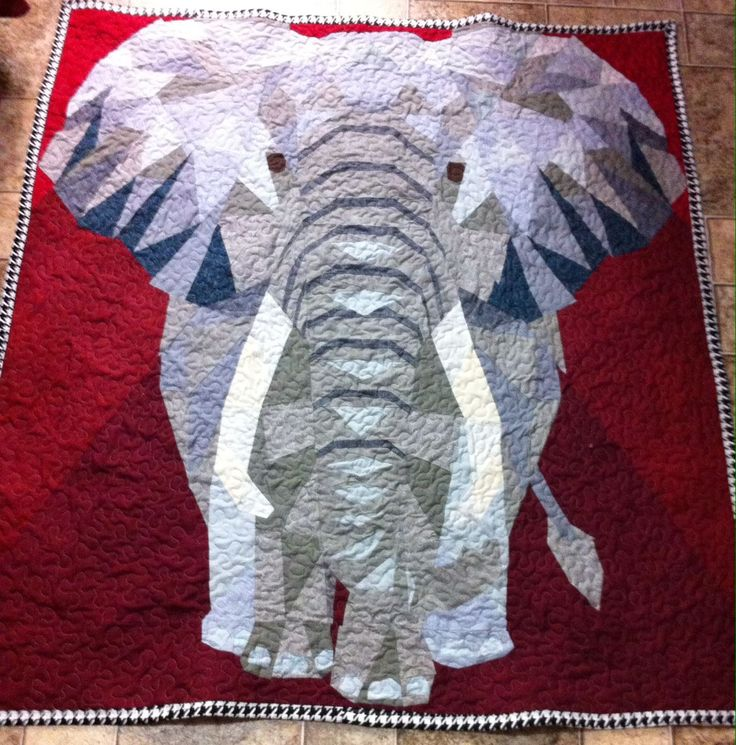 """I call him """"Eazy E."""" Pattern by Violet Craft, Elephant Abstractions. Quilt finished at 60x55. Sold! with an order for another."""