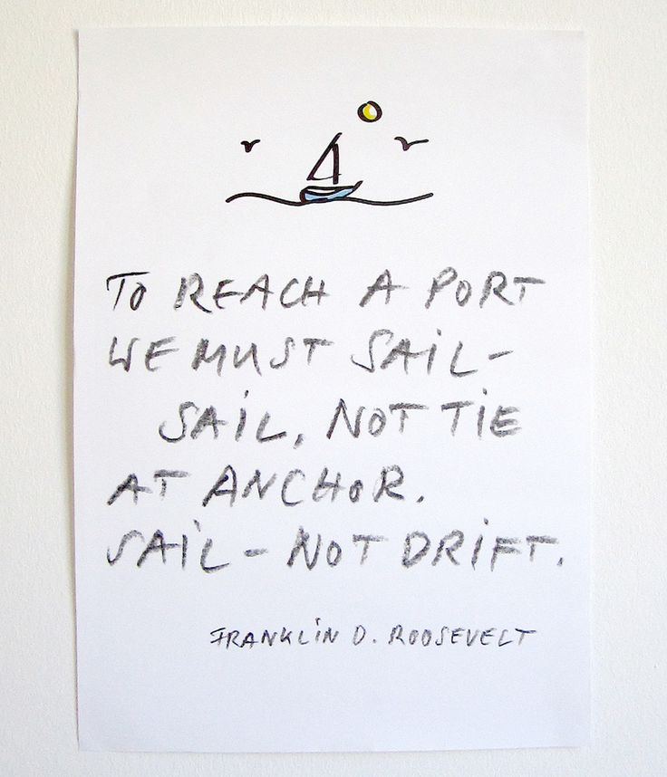 "Poster ""To reach a port"" with a lovely quote by Franklin D. Roosevelt.  By PETERSEN - A collection of things for everyday, www.hellopetersen.com"