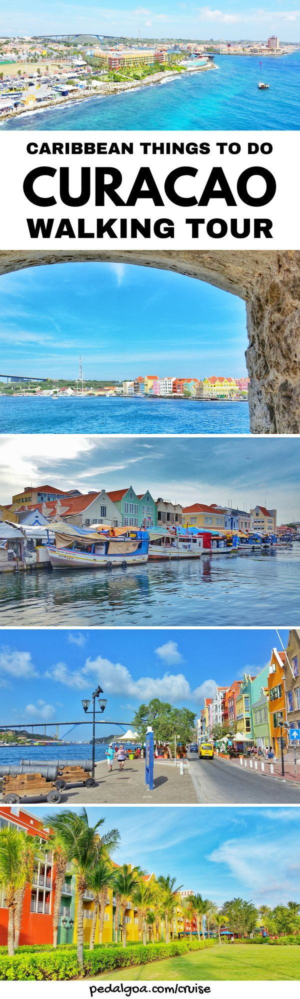 For a Caribbean cruise without excursions, things to do in Curacao, near Curacao cruise port. Outdoor shopping mall, fort to get to downtown Willemstad with culture for more shopping and food at restaurants. Floating bridge, market, waterfront cafe. Budget-friendly activities when not taking tour. Cruise tips for southern Caribbean cruise to Curacao that might include Grand Turk, Aruba, Bonaire, Dominican Republic, or Barbados too. Think what to wear, what to pack... #cruise #cruisetips