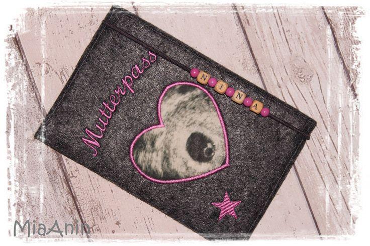 Mutterpasshüllen - Mutterpasshülle*Filz*pink*mit d. Ultraschallbild* - ein Designerstück von MiaAnin bei DaWanda