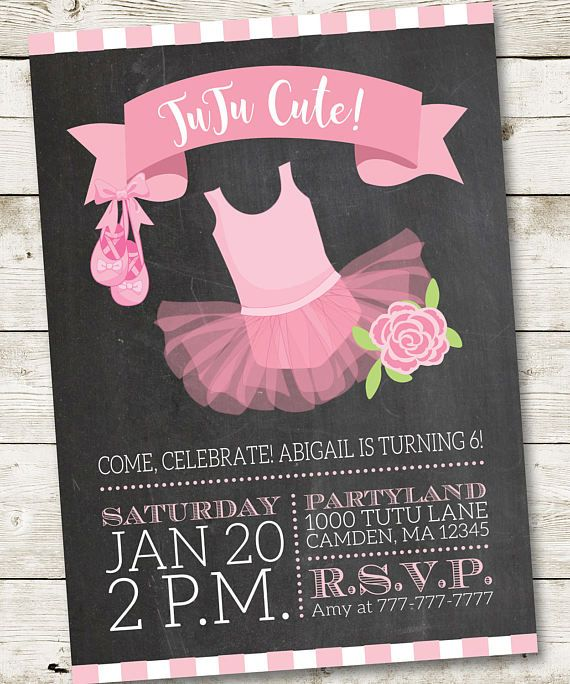 Roze Tutu uitnodiging/Ballerina uitnodiging/Ballerina