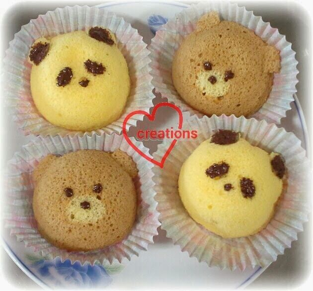 Loving Creations for You: Panda and Teddy Bear Chiffon Cupcakes