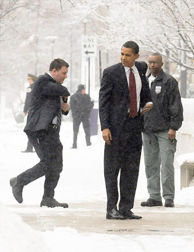 President-elect Barack Obama wasn't going to let a little snow stop him from waiting for his wife outside his daughters' school in December. The future First Couple were attending a party for their girls' last day at school in Chicago, Ill. Despite being a Hawaii native, Obama braved the wintry weather, without a heavy coat nonetheless, like much of the nation.