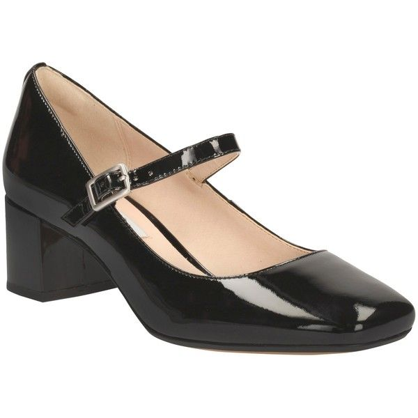 Clarks Chinaberry Pop Smart Court Shoes, Black Patent Leather ($72) ❤ liked on Polyvore featuring shoes, pumps, black flat shoes, black patent mary janes, black mary jane shoes, low black pumps and block-heel pumps