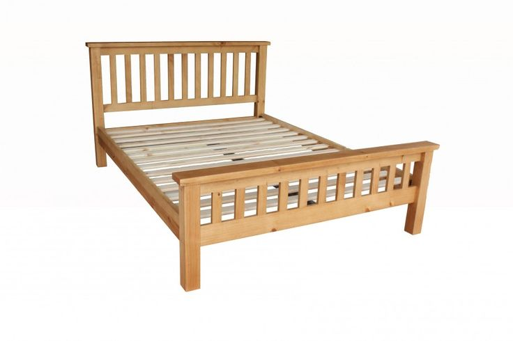 Natural Polished Pine Wood Pallet Bed Frame With Banister Headboard And Footboard Using White Small Wood Plank Slats With Adjustable Bed Frames  Plus Contemporary Beds, Astonishing Wooden Bed Frames Queen For Bedroom Furniture: Furniture