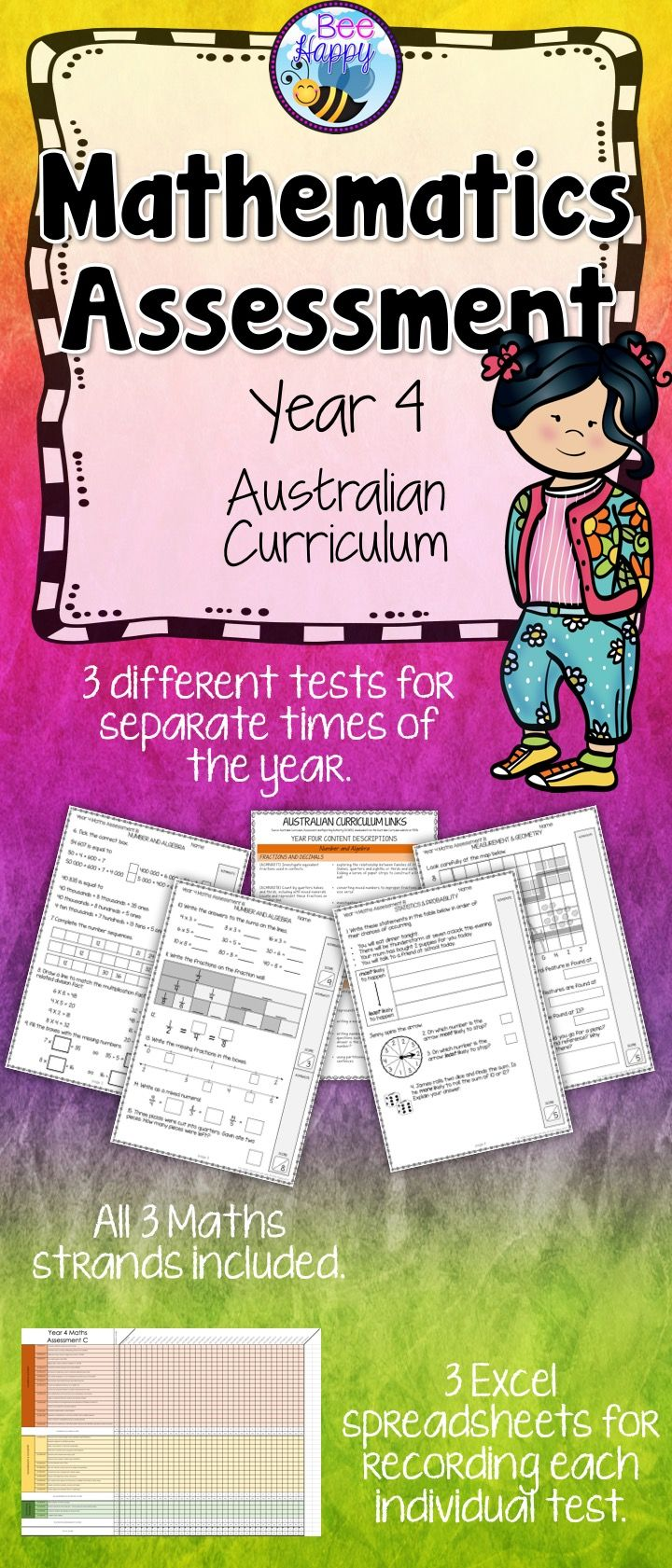 These Maths tests, for year four students, are linked to the Australian Curriculum. They cover Number & Algebra, Measurement & Geometry and Statistics & Probability. This resource includes three assessments, answers, a marking key and an Excel recording sheet which automatically calculates percentages.