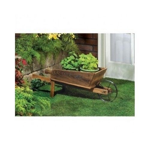 Wooden Planter Wheelbarrow Wagon Plant Stand Fir Wood Outdoor Garden Decor Patio #Unbranded