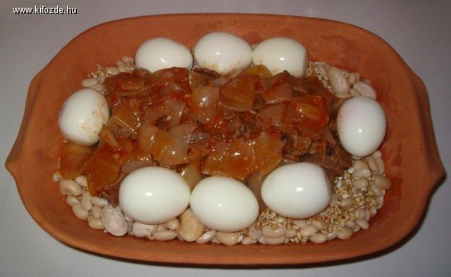 recept: Sólet pataki tálban, Kifőzde