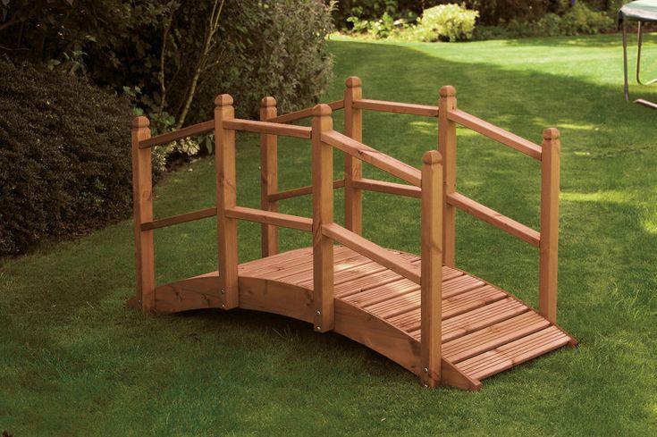 Wooden Garden Bridge Ornament Decorative Feature Teak Stained For Ponds Streams  #UKGardens