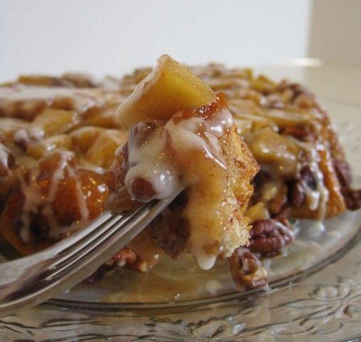 Upside-Down Cinnamon Apple Coffee Cake..ooey gooey sticky goodness
