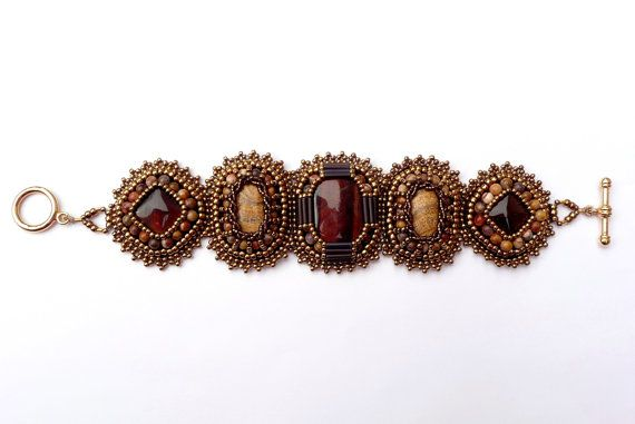 Red Tiger Eye Bead Embroidered Bracelet - Beaded Red Tiger Eye, Picture Jasper, Birds Eye Rhyolite Bronze Gold Statement Bracelet