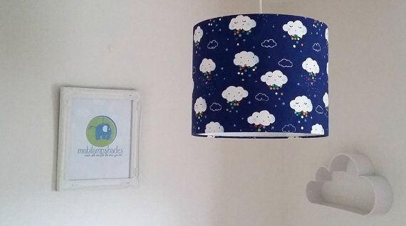 Blue Cloud Lampshade, Gender Neutral Baby Gift, Cloud Light, Cloud Nursery Decor, Lamp Shades UK, Children Light Shade, Gift For Goddaughter