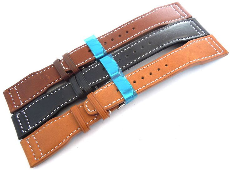 Aviator Hand Made Black 22mm Calf Leather watchstrap For Seiko Watches