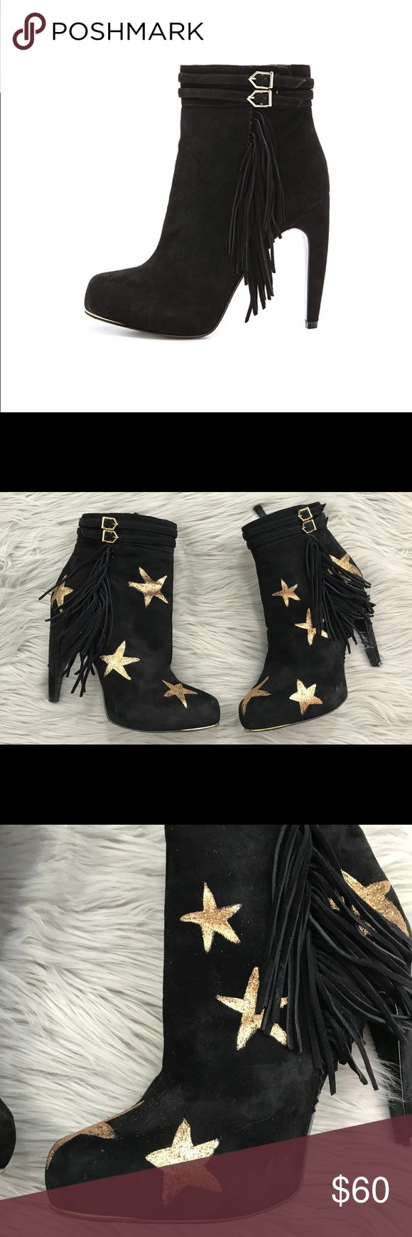 SAM EDELMAN KEEGAN BLACK SUEDE FRINGE BOOTS Custom Some signs of wear on the soles sand to the suede on the heels and toes, in good condition 7.5/10. The gold stars were hand painted on to customize the booties. A sculpted heel brings a defined edge to these velvety suede Sam Edelman booties. A trail of soft fringe and buckled straps detail the shaft, and sleek metal traces the rounded toe. Hidden side zip. Shiny leather sole. MEASUREMENTS Heel: 4.25in / 110mm Platform: 1in / 25mm Shaft…